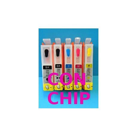 Set 5 Cartucce Vuote Ricaricabili Con Chips Per HP 364