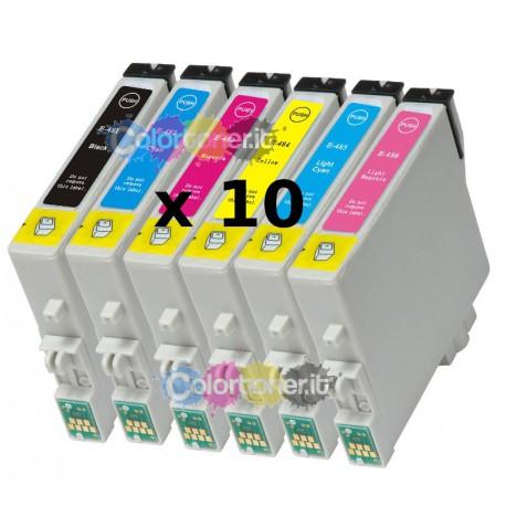Stock 10 Cartucce Compatibili A Colore Serie Epson T0481 T0482 T0483 T0484 T0485 T0486