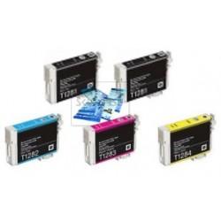 Set 5 Cartucce Compatibili Rainbow Per Epson T1281 T1282 T1283 T1284