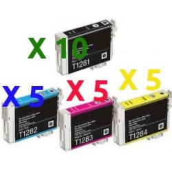 Set 25 Cartucce Compatibili Super Rainbow Per Epson T1281 T1282 T1283 T1284