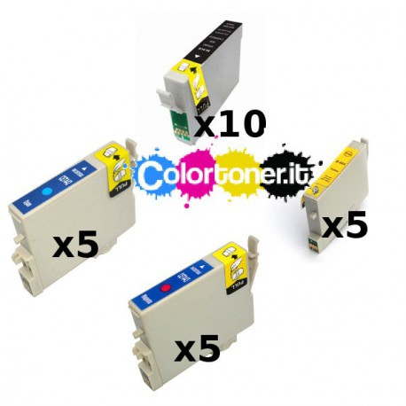 Set 25 Cartucce Compatibili Super Rainbow Per Epson T0441 T0442 T0443 T0444