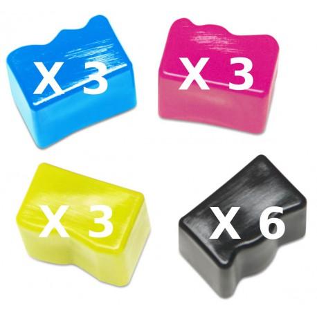 6 Ink Sticks Neri + 3 Ink Sticks Colore Per Xerox 108R00727-108R00723-108R00724-108R00725