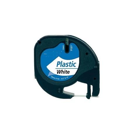 Nastro Etichette Dymo Compatibili S0721660 12mm x 4M Bianco Nero plastificato