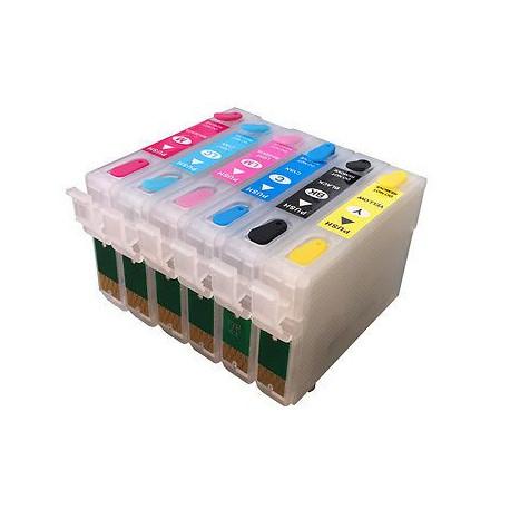 Set 6 Cartucce Vuote Ricaricabili Per Epson T0801-T0802-T0803-T0804-T0805-T0806